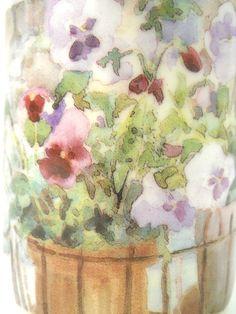 Inhesion Coffee Mug Willamina Purple Yellow Pansies Flowers Window Box White   eBay