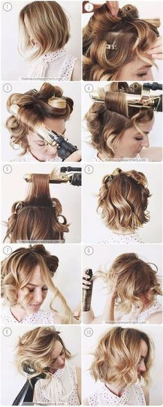 how to curl your hair, use curling iron -- short hair, bob