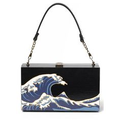 Wave Print Wooden Tote Bag (110 AUD) ❤ liked on Polyvore featuring bags, handbags, tote bags, clutches, purses, handbags totes, wood tote, white tote purse, tote handbags and tote purses