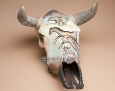 Southwest Painted Steer Skull -Cave Art  (ps77)