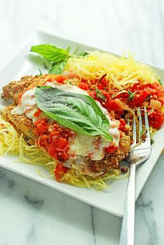 Baked Chicken Parmesan with Spaghetti Squash | Grandbaby Cakes