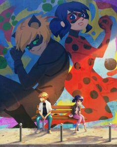 ''Marinette et Adrien'' olha que kawaiiiii ><  mas eles ainda não perceberam ai ai ai