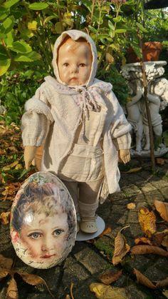 Käthe Kruse Puppe I, Stoffkopf,breite Hüften, ca. 20er/30er Jahre