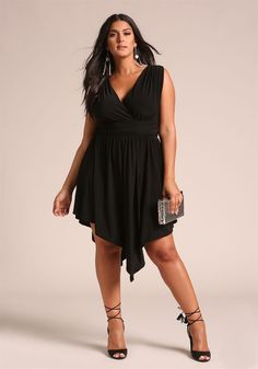 Plus Size Clothing | Plus Size Ruched Pointed Flared Dress | Debshops