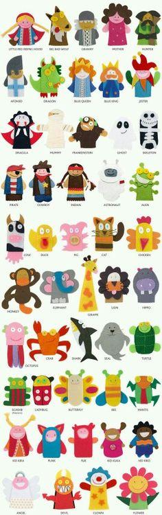 finger puppets, great ideas for hand puppets títeres de dedo Felt Diy, Felt Crafts, Kids Crafts, Felt Puppets, Felt Finger Puppets, Felt Ornaments, Felt Animals, Diy Toys, Diy For Kids