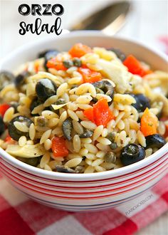 Orzo Salad - orzo, roasted red peppers, artichoke hearts, capers, black olives tossed in a quick lemon olive oil dressing. Can serve warm or cold. It gets better the longer it sits. Great for cookouts and tailgates! Orzo Salad Recipes, Pasta Salad, Sin Gluten, Gluten Free, Teriyaki Pork Chops, How To Cook Orzo, Chicken Orzo, Bacon On The Grill, Hot Dog Recipes