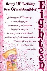 Happy 18th Birthday Granddaughter Cards Happy 18th Birthday Quotes Birthday Quotes Birthday Poems For Daughter