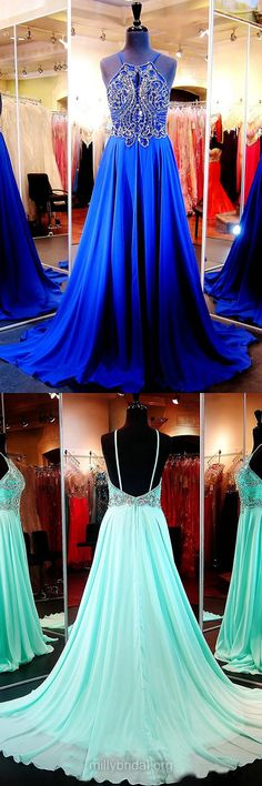 Royal Blue Prom Dresses, Long Prom Dresses, Beading Backless Formal Dresses, Scoop Neck Chiffon Party Dresses, Court Train Evening Dresses