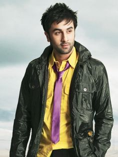 Ranbir Kapoor (28 Sep)- Good-looking man- black wind-cheater jacket on yellow shirt!