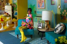 room Vintage Mod Doll House~a work in progress Barbie Dream, Play Barbie, Barbie Life, Barbie House, Barbie World, Barbie And Ken, Mod Furniture, Barbie Furniture, Dollhouse Furniture