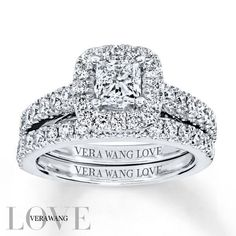 From the Vera Wang LOVE Collection, this captivating engagement ring features a mesmerizing 3/4 carat princess-cut center diamond surrounded by a frame of smaller accent round diamonds. Additional diamonds grace the ring's band on all sides, ensuring sparkle from every angle. Set into the bezel are two square-cut sapphires, the signature of the collection and a symbol of faithfulness and everlasting love. The coordinating wedding band features an additional row of shimmering diamonds...