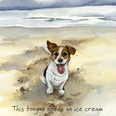 Jack Russell greeting card – Ice cream