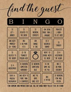 Find the Guest Bingo . Find the Guest Bingo Bridal Shower Game . Bridal Shower Games - Find the Guest Bingo Bridal Shower Game - Bridal Shower Activities, Fun Bridal Shower Games, Bridal Shower Planning, Bridal Shower Party, Bridal Shower Decorations, Wedding Planning, Wedding Party Games, Wedding Games For Guests, Bridal Showers