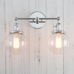 "Permo Double Sconce Vintage Industrial Antique 2-lights Wall Sconces with Dual Mini 5.9"" Round Clear Glass Globe Shade (Antique)"