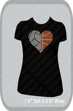 Volleyball and Basketball Rhinestone Heart Women's by Wrhinestoner, $25.00