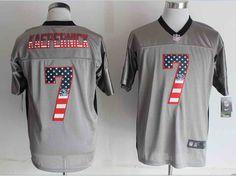 2014 NEW Nike San Francisco 49ers #7 Colin Kaepernick USA Flag Fashion Grey Shadow Elite Jersey