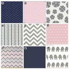 Crib bedding  Pink Navy and Grey by GiggleSixBaby on Etsy, $403.00