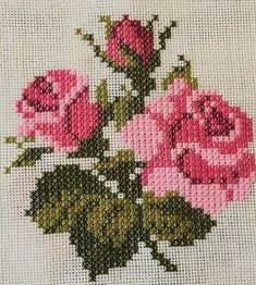 pattern / chart for cross stitch, knitting, knotting, beadi Ribbon Embroidery, Cross Stitch Embroidery, Embroidery Patterns, Cross Stitch Rose, Cross Stitch Flowers, Cross Stitch Designs, Cross Stitch Patterns, Bargello, Le Point