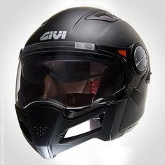 GIVI X01 HYBRID HELMET - MATT BLACK - FRONT - VENTED Motorcycle Helmet Design, Cool Motorcycle Helmets, Cool Motorcycles, Tactical Helmet, Helmet Head, Custom Helmets, Adventure Gear, Riding Gear, Biker Style