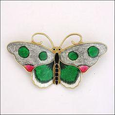 Silver Enamel Butterfly Brooch - HROAR PRYDZ - Norway