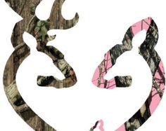 Browning style camo and pink camo love heart by Backwoodhobbies
