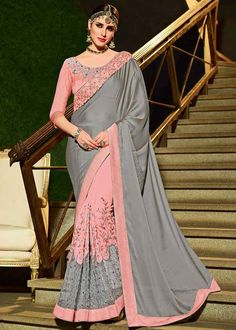 Crafted with stunning design in mind, this classy designer grey and pink color georgette and net party wear saree will become your new closet favorite. Wear this saree with elegant heels and matching jewelry to look more beautiful. Designer Sarees Wedding, Latest Designer Sarees, Mango Collection, Saree Collection, Designer Collection, Lace Saree, Saree Dress, Sari, Simple Sarees