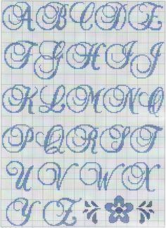 Letra Cross Stitch Alphabet Patterns, Cross Stitch Letters, Alphabet Design, Monogram Alphabet, Cross Stitching, Cross Stitch Embroidery, Perler Bead Mario, Plastic Canvas Letters, Wedding Cross Stitch
