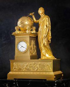 Bailly, An Empire mantel clock by Bailly, case attributed to Denière, Paris, date circa Wall Clock Wooden, Antique Wall Clocks, Vintage Clocks, Clock Art, Clock Decor, French Clock, Classic Clocks, Unique Clocks, Retro Clock