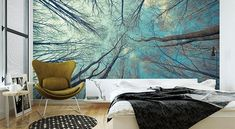 Effektvolle Wand- und Raumgestaltung mit Fototapete The wall design with wallpapers has a long tradi Wallpaper Decor, Photo Wallpaper, Media Wall, Wall Design, Tapestry, Traditional, House Styles, Room, Painting