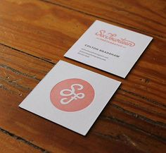 Letterpress Business Card - love the square and simple logo on front with info on back repinned by www.kickresume.com