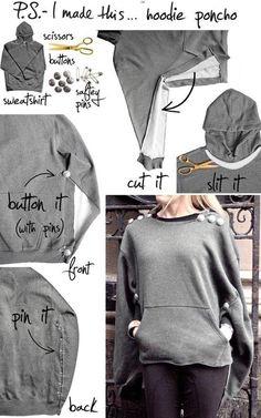27 Most Popular DIY Fashion Ideas Ever, DIY Hoodie Poncho