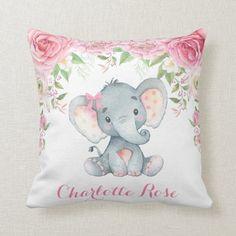 Elephant Pink Floral Roses Baby Girl Nursery Decor Throw Pillow Elephant Nursery Decor, Elephant Pillow, Baby Girl Nursery Decor, Nursery Room Decor, Baby Decor, Baby Room, Nursery Ideas, Elephant Baby, Rose Nursery