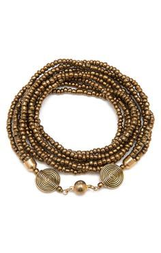Wood Brown Multi-Strand Glass Seed Bead Wrap Bracelet (