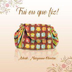 Necessaire feita pela artesã Maryanne Oliveira com tecido da coleção Corujinhas da Fabricart.