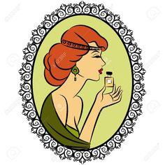 Chica De Moda Del Vintage Con El Perfume Ilustraciones Vectoriales, Clip Art…