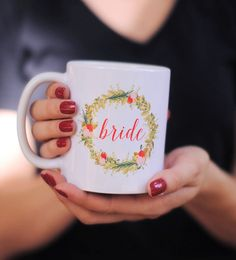 Floral Bride Coffee Mug, bride to be mug, bachelorette party, engagement gift, bride gifts, bridal shower gifts, bride to be