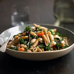 Penne with garlicky greens and beans (use gluten free pasta to avoid fortified folic acid)