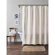 Better Homes And Gardens Metallic Ikat Dou Fabric Shower Curtain Image 1 Of 2