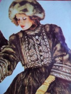 Bill Gibb: Opossum coat with yoke and cuffs of embroidered tweed. (Magazine cutting from the 1970s from either Vogue or Harpers & Queen. Photo: Norman Parkinson.)