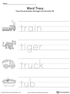 **FREE**Trace Words That Begin With Letter Sound: T. Teach the beginning letter sound by tracing and saying the name of the matching picture while providing opportunities for your child to improve their fine motor skills in this printable worksheet. Printable Alphabet Worksheets, Handwriting Practice Worksheets, Handwriting Analysis, Pre K Worksheets, Kindergarten Math Worksheets, Free Printable, All About Me Preschool, Preschool Writing, Preschool Learning Activities