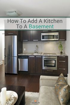5 Tips For Adding A Kitchen To A Basement Suite [Basement Kitchenette, Basement Kitchen, Adding A Ki Apartment Kitchen, Living Room Kitchen, New Kitchen, Warehouse Apartment, Kitchen Wood, Smart Kitchen, Kitchen Counters, Awesome Kitchen, Beautiful Kitchen