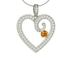 Round 14k White Gold Citrine Heart Necklace with SI Diamond