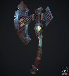 I will be posting later the original axe sketch, which is also kind of viking. I wanted to make it a PBR stylized game Character Concept, Concept Art, Fantasy Blade, Pretty Knives, Gadgets, Armadura Medieval, Viking Axe, Medieval Weapons, Swords