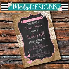 Any Color LINGERIE BURLAP LACE Chalkboard Something Sexy Something Sweet Pink Mint Bridal Shower Hen Surprise Bachelorette Party Invitation