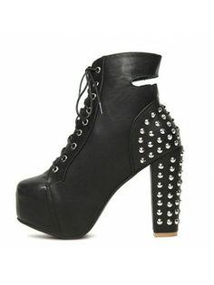 Studded Black PU Heel Boots