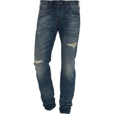 TRUE RELIGION Rocco Broken City // Straight fit jeans in vintage look ($135) ❤ liked on Polyvore featuring men's fashion, men's clothing, men's jeans, men, pants, jeans, men wear, true religion mens jeans, mens destroyed jeans and mens skinny fit jeans