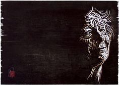 Woodcut portrait of Wislawa Szymborska by German born printmaker Dirk Hagner