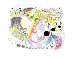 """""""Music Whirled"""" art print, from an original mixed media picture by Diane Hurst"""