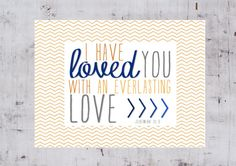 EVERLASTING LOVE - Digital File to Print - Christian Faith Scripture Art for Baby Boy Teen Tween Room or Home Decor - Orange and Blue. $5.00, via Etsy.