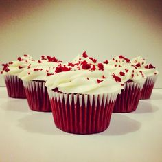 Red Velvet Cupcakes with Cream Cheese frosting.